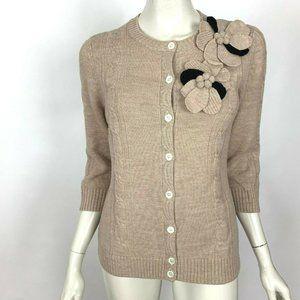 J McLaughlin Merino Wool Flower Brooch Cardigan M